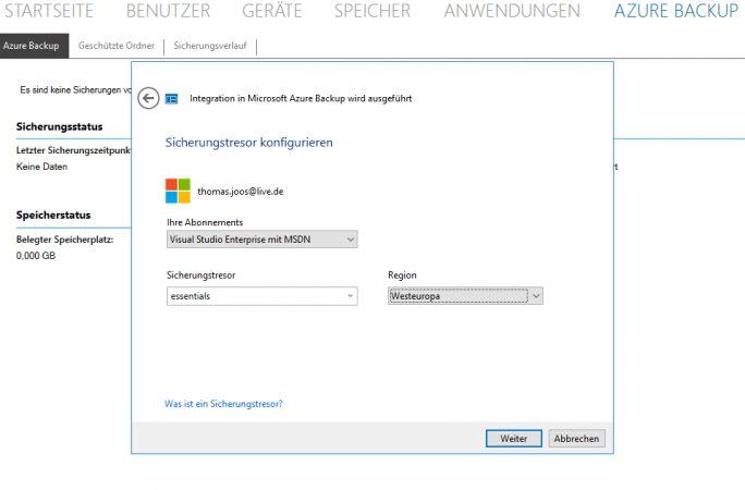 Windows Server 2016 Essentials erlaubt die Anbindung des Servers an Microsoft Azure, zur Sicherung der lokalen Daten (Screenshot: Thomas Joos).