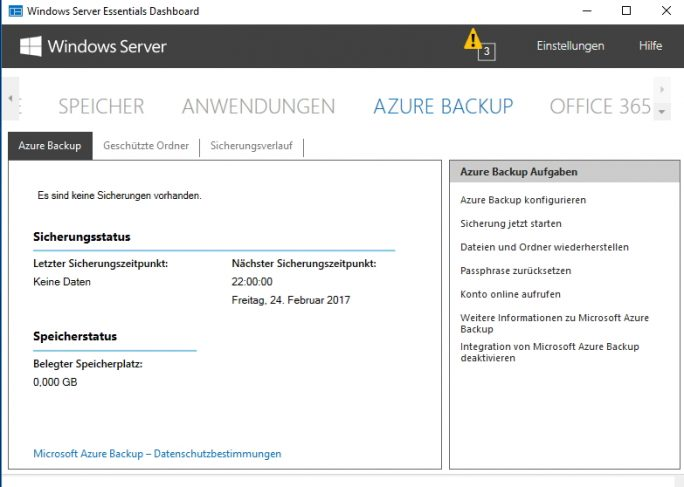 Azure Backup wird komplett im Dashboard von Windows Server 2016 Essentials verwaltet (Screenshot: Thomas Joos).