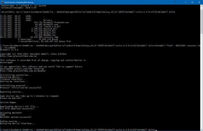 04_Samsung_Galaxy_S4_GT_I9505_jfltexx-heimdall flash-RECOVERY-recovery-img-no-reboot (Bild: ZDNet.de)
