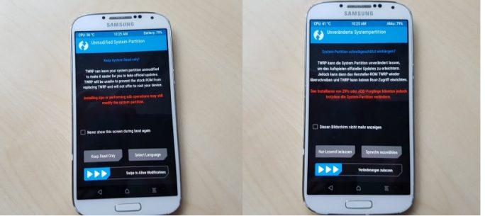 05_Samsung_Galaxy_S4_GT_I9505_jfltexx-TWRP-Deutsch_System_Modifikation_zulassen (Bild: ZDNet.de)