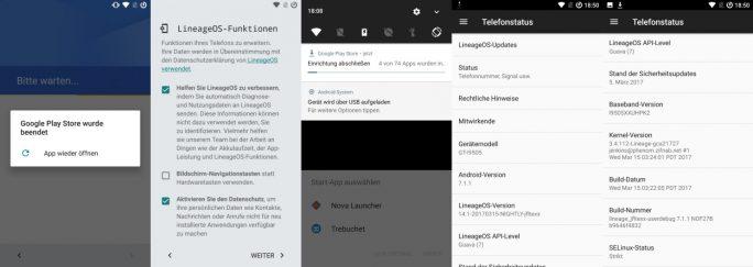 LineageOS: Einrichtungsassisten mit Problemen beim Import von Anwendungen (Bild: ZDNet.de)