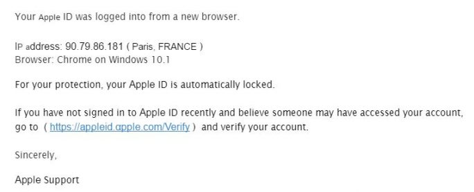 Apple-Phishing-E-Mail (Screenshot: ZDNet.de)