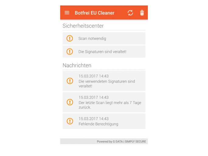 Botfrei EU Cleaner vor den Scans (Screenshot: ZDNet.de)