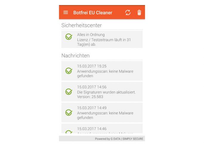 Botfrei EU Cleaner nach der Überprüfung (Screenshot: ZDNet.de)