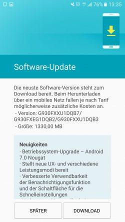 Galaxy S7: Update auf Android 7.0 für Geräte von 1 & 1 wird ausgeliefert (Bild: Andre)