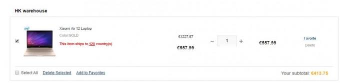 Gearbest: Xiaomi Mi Notebook Air für 413,75 Euro (Screenshot: ZDNet.de)