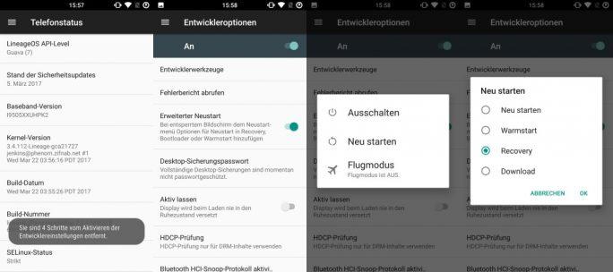 LineageOS: Erweiterter Neustart (Bild: ZDNet.de)