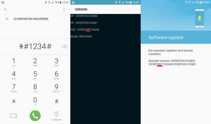 Galaxy S7/S7 Edge: Provider-Code in CSC (Bild: ZDNet.de)