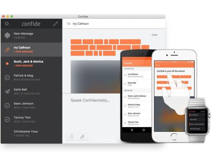 Confide ist für Windows, Mac OS X, Android, iOS und die Apple Watch erhältlich (Bild: Confide).