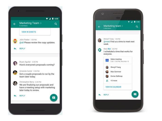 Hangouts Chat bietet Teams virtuelle Räume. Der Meet-Bot kann zudem automatisch Besprechungen für die Teammitglieder organisieren (Bild: Google).