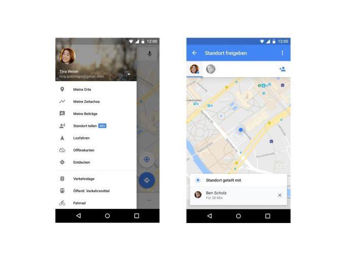 Nutzer können künftig per Google Maps ihren Standort oder Reiseverlauf freigeben (Bild: Google).