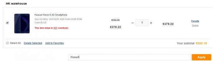 Gearbest bietet das Honor 8 Premium mit 64 GByte für etwa 303 Euro an (Screeenshot: ZDNet.de)