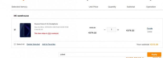 "Mit dem Rabatt-Code ""zdnet"" kostet das Honor 8 Premium 310,36 Euro (Screenshot: ZDNet.de)"
