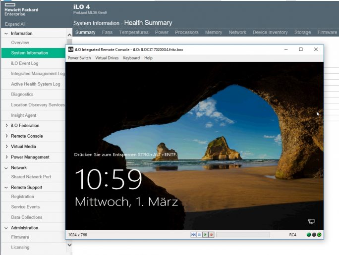 Windows Server 2016 auf HPE ProLiant ML30 Gen9 (Screenshot: Thomas Joos).