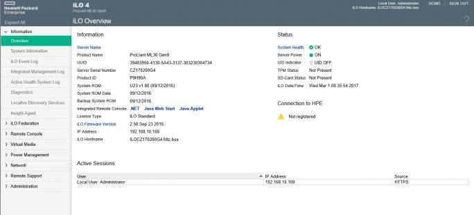 Nach dem erfolgreichen Verbindungsaufbau steht die iLO-Verwaltungsoberfläche des Servers zur Verfügung (Screenshot: Thomas Joos).