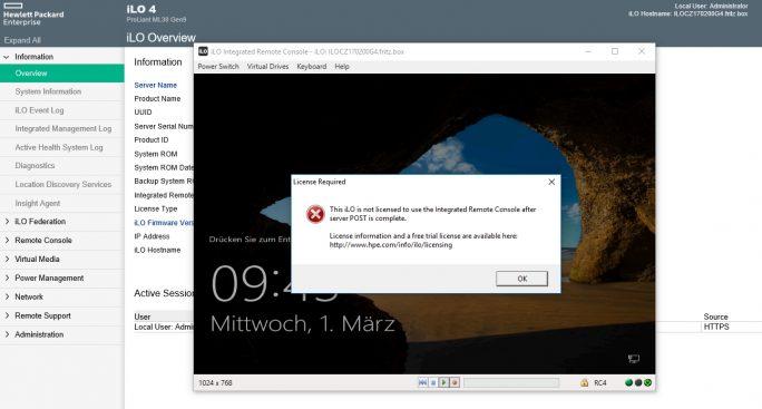 iLO trennt Benutzer automatisch, wenn die Lösung nicht lizenziert ist. Das spielt für die Installtion von Windows Server 2016 aber keine Rolle (Screenshot: Thomas Joos).