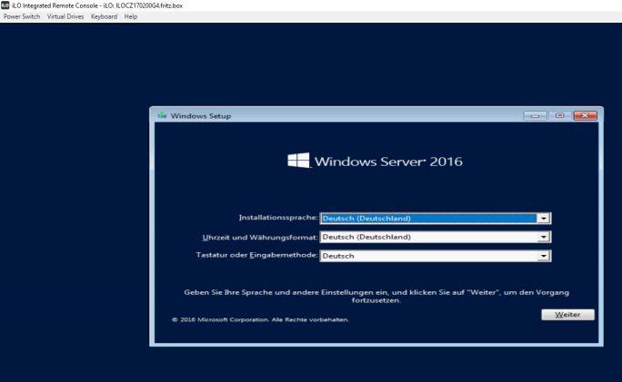 Die Installation des Servers erfolgt auf Wunsch auch über iLO (Screenshot: Thomas Joos).