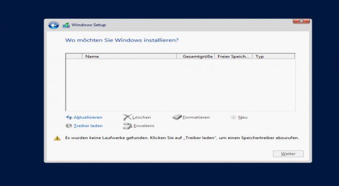 Ohne externen Treiber lässt sich Windows Server 2016 nicht auf dem Server installieren (Screenshot: Thomas Joos).