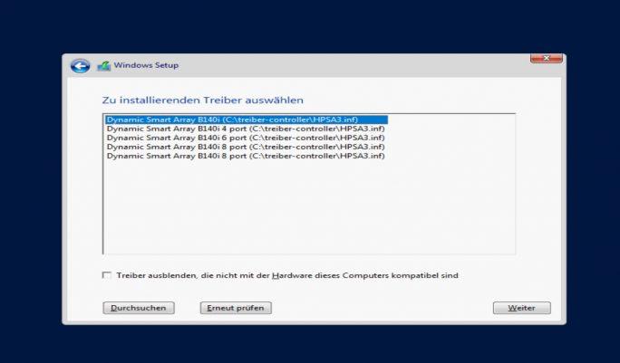 HPE stellt einen passenden Treiber für den Storage-Controller des HPE ProLiant ML30 Gen9 zur Verfügung (Screenshot: Thomas Joos).