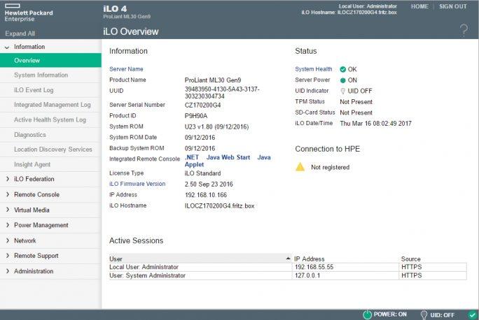 Mit iLO lassen sich HPE-Server ohne Zusatzsoftware über das Netzwerk verwalten (Screenshot: Thomas Joos).