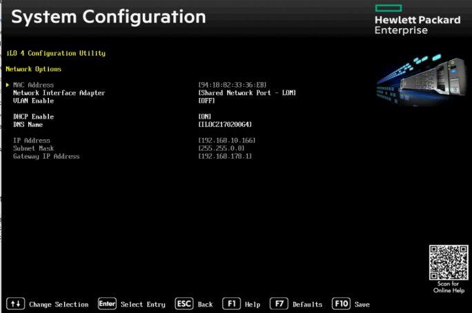 Über das iLO 4 Configuration Utility lassen sich wichtige Netzwerkeinstellungen für iLO vorgeben (Screenshot: Thomas Joos).