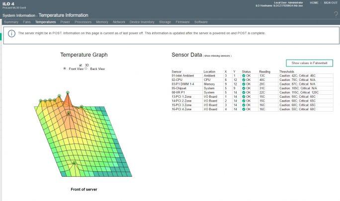 iLO 4 bietet auch viele Informationen, die per Sensoren an iLO übergeben werden (Screenshot: Thomas Joos).