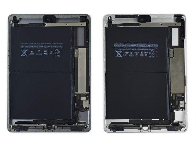 Technisch basiert das neue iPad (rechts) auf dem bereits vier Jahre alten ersten iPad Air (links) (Bild: iFixit).