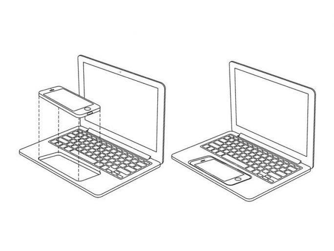 Ein iPhone nimmt den Platz des Trackpads ein (Bild: Apple / USPTO).