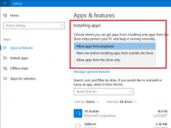 Die Installation von Apps lässt sich mit dem Creators Update künftig auf den Windows Store beschränken (Screenshot: Microsoft).