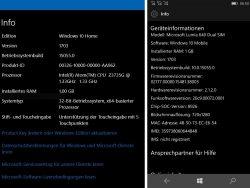 Das Builid 15055 bezeichnet Microsoft als Version 1703, was auf eine Veröffentlichung des Creators Update im März 2017 hindeutet (Screenshot: ZDNet.de).