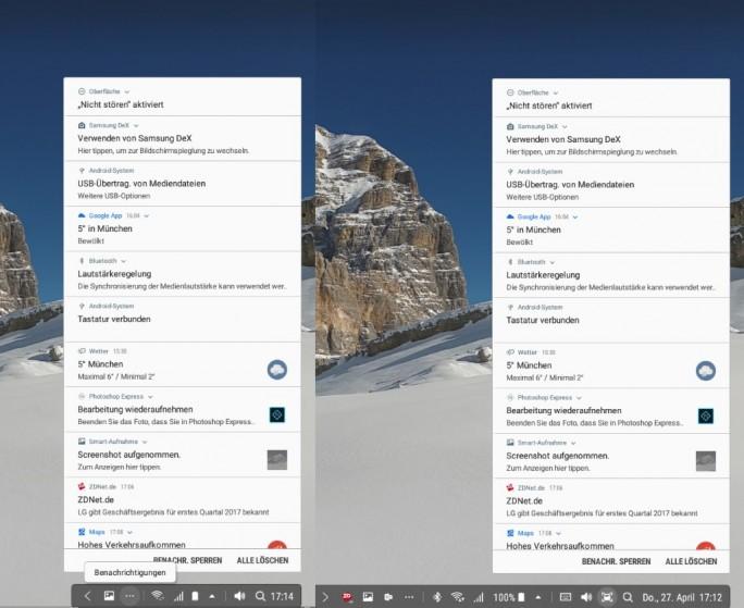Samsung DeX: Infobereich und Benachrichtigungszentrum (Screenshot: ZDNet.de)