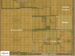Die-Aufnahme des SoC A8X mit von Apple angepasster PowerVR-GPU (Bild: Chipworks)