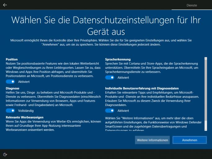 Windows 10: Datenschutzeinstellungen bei Neuinstallation (Bild: Microsoft)