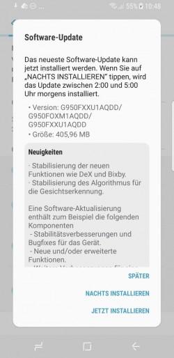 Galaxy S8: Update soll Verbesserungen für Bixby und DeX bringen (Screenshot: ZDNet.de)