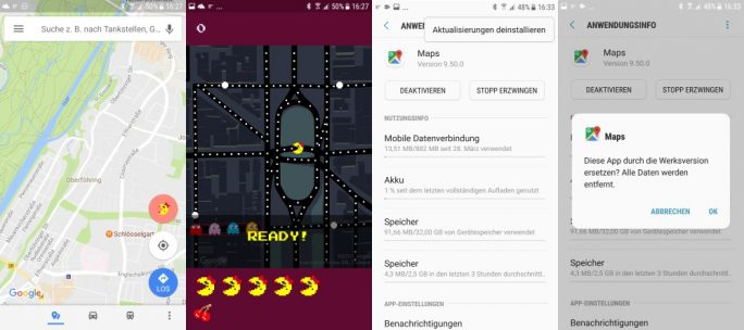 Google-Aprilscherz: Pac-Man in Maps kommt nicht gut an (Screenshot: ZDNet.de)