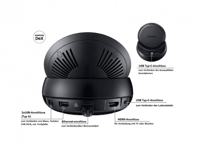 Samsung DeX: Anschlüsse der Docking-Station (Bild: Samsung)