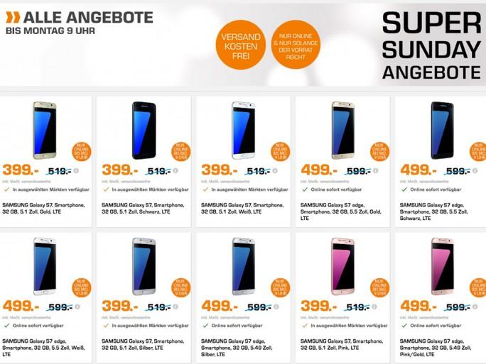 Saturn: Galaxy S7 für 399 Euro, S7 Edge für 499 Euro (Screenshot: ZDNet.de)