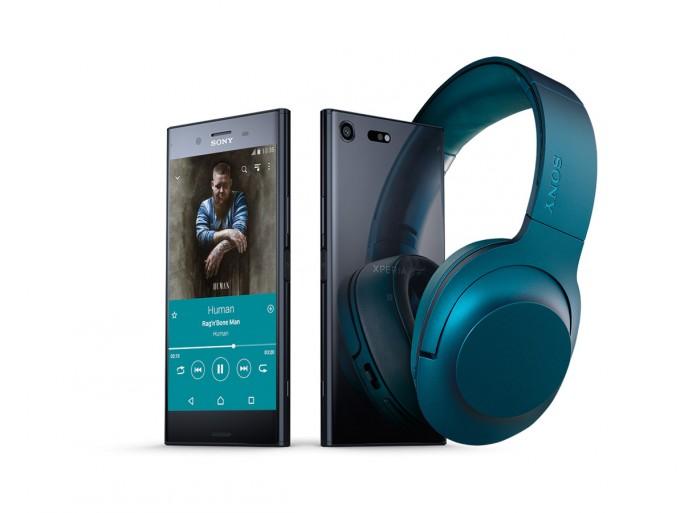 Sony Xperia XZ Premium mit Sony h.ear on Wireless Kopfhörer (Bild: Sony).