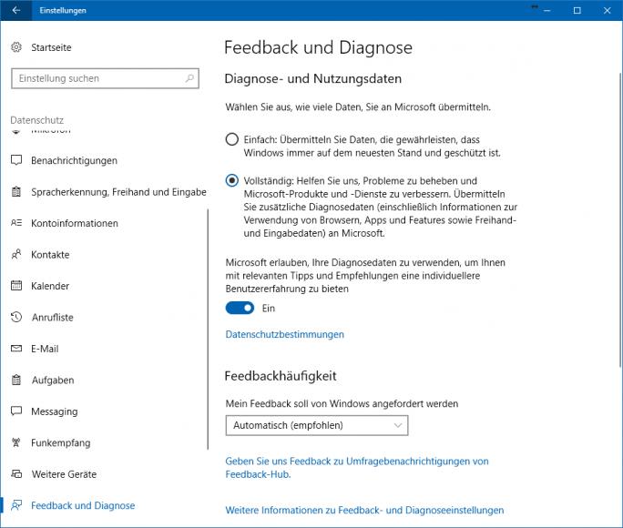 Windows 10 1703 Creators Update: Informationen und Einstellungsmöglichkeiten zu Diagnose- und Nutzungsdaten (Screenshot: ZDNet.de).