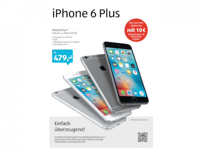 Apple iPhone 6 Plus bei Aldi Süd (Bild: Aldi)