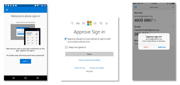 Nutzer der Authenticator-App müssen künftig nur noch eine Benachrichtigung bestätigen, statt ihr Passwort einzugeben (Bild: Microsoft).
