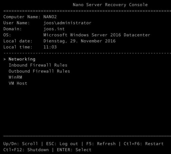 Auf HPE-Servern kann auch die Nano-Installation von Windows Server 2016 verwendet werden (Screenshot: Thomas Joos).