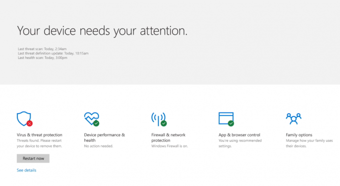 Windows Defender Security Center. (Bild: Microsoft)