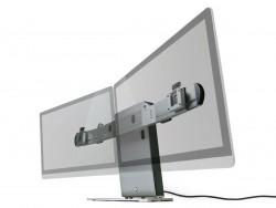 Die ergonomisch höhenverstellbare und drehbare Monitorhalterung ermöglicht die Montage von bis zu zwei VESA-Monitoren (Bild: Modinice).