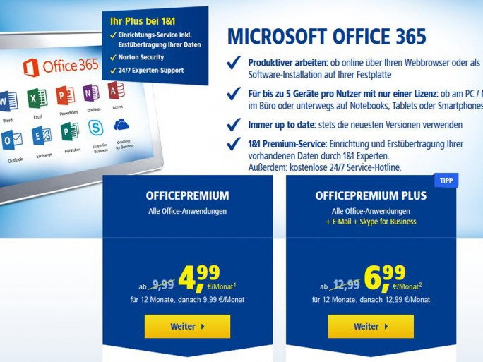 Office 365 bei 1&1 (Screenshot: silicon.de)