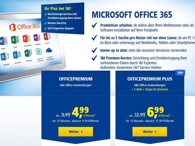 Office 365 bei 1&1 (Screenshot: silicon.de)