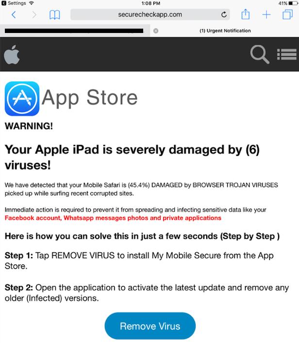 """Warnung vor einer angeblichen Infektion mit Malware. In einer aktuellen Malvertising-Kampagne sollen Anwender dazu gebracht werden, die VPN-App """"MyMobileSecure"""" aufzuspielen, die dann im Grunde sämtliche Daten des Gerätes auslesen kann. (Bild: Malwarebytes)"""