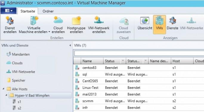 Mit SCVMM und HPE OneView für System Center verwalten Administratoren die virtuelle Infrastruktur-Umgebung, die auf HPE-Server aufbaut (Screenshot: Thomas Joos).