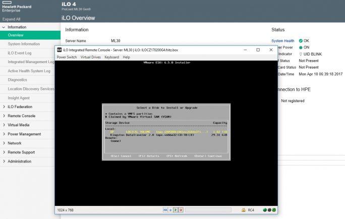 Während der Installation wird die Festplatte ausgewählt, auf der vSphere 6.5 installiert werden soll (Screenshot: Thomas Joos).