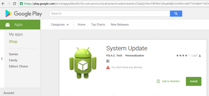 Spyware SMSVova im Play Store (Screenshot: Zscaler)
